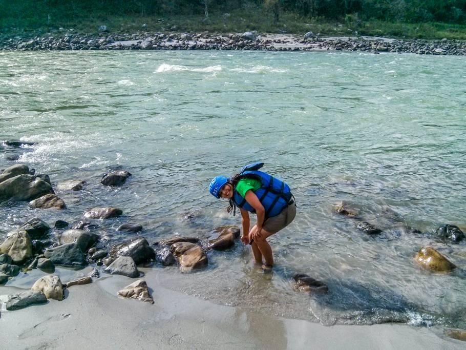 Taking the feel of Ganga JI before Rafting